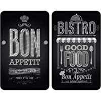 WENKO Plaque de protection en verre universel Bon Appétit - set de 2, pour tous les types de cuisinières, Verre trempé, 30 x 52 cm, Multicolore