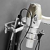 Soporte para secador de Pelo,Soporte para Colgar secador y Plancha de Pelo de Aluminio Soporte para secador de Pelo montado e