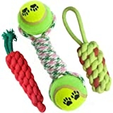 Pet Needs Combo of 3 Durable Pet Teeth Cleaning Chewing Biting Knotted Small Puppy Toys -100% Natural & Safe Cotton (Color Ma