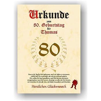 Urkunde Zum 80 Geburtstag Gluckwunsch Geschenkurkunde