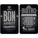 WENKO Protection plaque de cuisson, «Bon Appetit», plaque de protection induction, gazinière, vitrocéramique, verre trempé, L