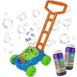 Máquina de Burbujas para Niños, Mecanismo de Soplado Automático, Juguete Bubble Lawn Mower con 2 botellas de líquido, Juguete