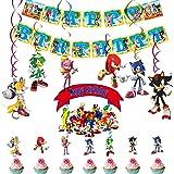 Decoraciones para fiesta de cumpleaños de Sonic Sonic The Hedgehog Banner de feliz cumpleaños Hedgehog Cake Toppers Sonic The
