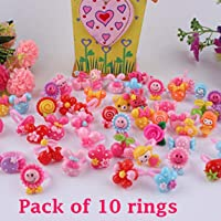 Tahera Kids Girls Cartoon Fancy Finger Rings for rakshbandhan and Birthday Gifts.Suitable for Age 3 - 14 yrs. Pack of 10…