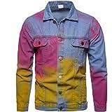 PRJN Men's Denim Shirts Mens Denim Shirts Casual Stud Button Long Sleeve Westerm Cowboy Slim Shirts Men's Casual Button Down