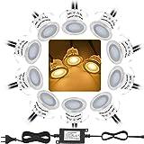 Bojim 10PCS Focos LED Empotrables de Suelo para Exterior, Impermeable IP67, Blanco Cálido 3000K, Diámetro 32mm 0.6Watts 12V-D