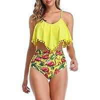 AmzBarley Costumi da Bagno per Donna Due Pezzi Tankini Set Bikini Retro Balze Reggiseno Top Floreale Pantaloni a Vita…
