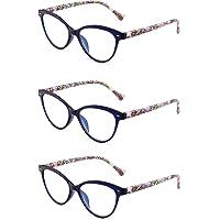 3 Pacco Designer Moda Occhiali da Lettura Occhio di Gatto Cerniera a Molla Occhiali da Vista per Lettori Donna +0.75 Blu