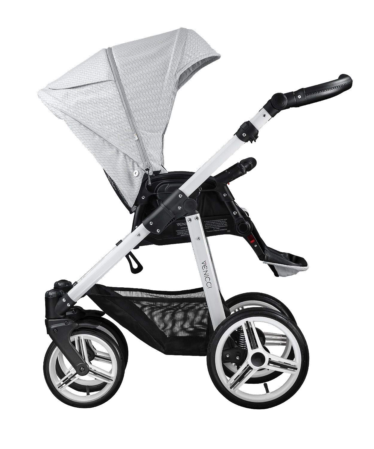 Venicci Pure 3-in-1 Travel System - Stone Grey - with Carrycot + Car Seat + Changing Bag + Apron + Raincover + Mosquito Net + 5-Point Harness and UV 50+ Fabric + Car Seat Adapters + Cup Holder  3 in 1 Travel System with included Group 0+ Car Seat Suitable for your baby from birth until 36 months 5-point harness to enhance the safety of your child 3