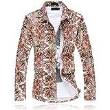 NOBRAND Camicia da uomo a maniche lunghe con stampa floreale alla moda città, casual