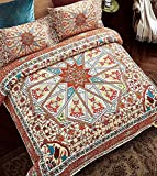 Bohemian Moroccan Duvet Cover Set, Elegant Floral Pattern Colorful Medallion Boho Style Quilt Sets + Two Pillow Cases Modern Duvet Sets (Double,Dusk)
