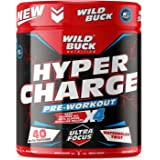 WILD BUCK Hyper Charge Pre-X4 Hardcore Pre-Workout Supplement with Creatine Monohydrate, Arginine AAKG, Beta-Alanine, Explosi