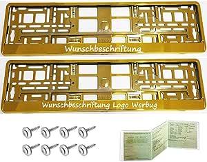 2 Stück Kennzeichenhalter Gold Chrom Mit Wunschtext Beschriftung Werbung Bedruckt Auto