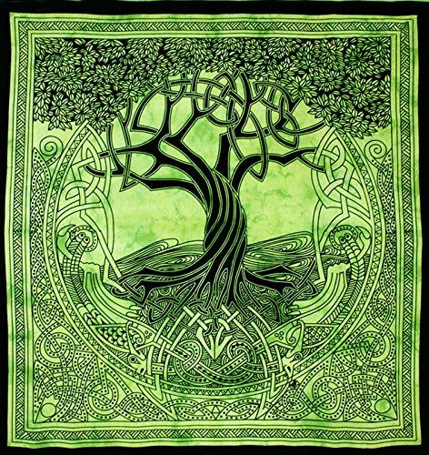 Tagesdecke fürs Bett oder Sofa, mit dem Motiv des keltischen Baums des Lebens, in grün und schwarz, Größe XL/King Size