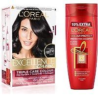 L'Oreal Paris Excellence Creme Hair Color- 1 Black+L'Oreal Paris Hair Expertise Colour Protect Shampoo, 360ml