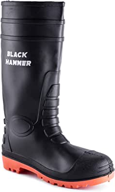 Black Hammer Mens Waterproof Steel Toe Cap Wellies with Steel Midsole Wellington Boots S5 SRC 9988