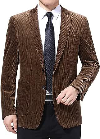 Allthemen Mens Corduroy Blazer Two-Button Dinner Suits Jacket Business Autumn Dress Suit Jackets