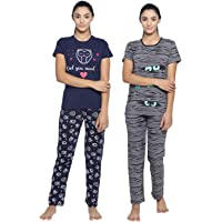 Real Basics Women's Cotton Animal Print Pajama Set Pack of 2