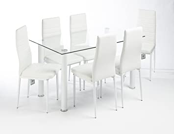 Superb MODERN GLASS DESIGNED CONTEMPORARY DINING TABLE SET WITH 6 FAUX LEATHER  CHAIRS (WHITE CLEAR TABLE Part 32