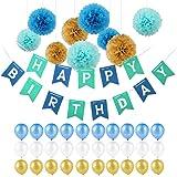 Pomisty Décorations Anniversaire, Anniversaire Bannière Décoration Fête 40 Pcs en 1 * Banderole en Triangle Happy Birthday+ 9 Pom Poms + 30 Ballons pour Filles, Garçons et Adultes (Bleu)