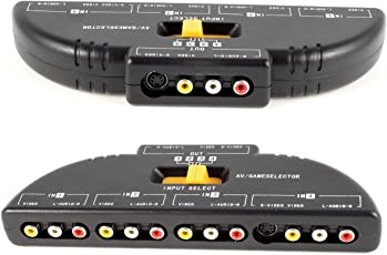 Pruthvik 4 Way Audio Video Switch Selector Box Splitter with RCA Cable for VCD/DVD/Video Camera/Recorder/Video Game