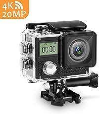 Panlelo V5 Actioncam 4K UHD 20MP WiFi 170° Weitwinkel Aktionkameras Wasserdicht 30M Unterwasserkamera CMOS-Sensor Sport Action Kamera mit Gratis Zubehör