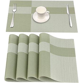 Washable PVC Woven Striped Placemats 45x30cm... HOMEWINS Place Mats Set of 4