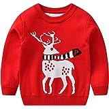 Niños Niñas Suéteres Navideños Manga Larga Reno Jacquard Jersey Pullover de Punto Sudadera Prendas de Punto Jumper
