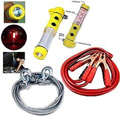 KOZDIKO Steel Towing Cable Rope 2000kgs 6mm, 500 Amp Heavy Duty Jumper Booster Cables, 5-in-1 Window Glass Breaker,Emergency,Hammer
