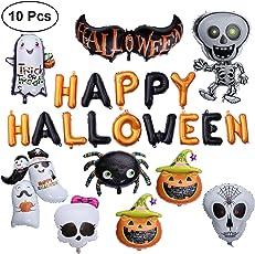 10pcs Happy Halloween Aluminum Foil Balloons Set Pumpkin Ghost Spider Balloons Kit Festival Decor for Home Party Bar Club