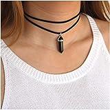 Kercisbeauty Black Wrap Velvet Choker with Black Gemstones Healing Stones Women Girls Everyday Boho Necklace Gift Her Jewelry