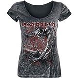 Iron Maiden Fear of The Dark Vintage Mujer Camiseta Negro/Estilo Usado, Regular