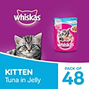 Whiskas Kitten (2-12 months) Wet Valentines Gift Cat Food, Tuna in Jelly, 48 Pouches (48×85g)