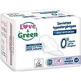 Love & Green Serviettes Hypoallergéniques Nuit 0% - Paquet de 10 serviettes