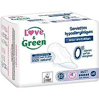 Love & Green Serviettes Hypoallergéniques Nuit 0% 10 Pièces