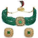 Zaveri Pearls Green Multistrand Crystal Beads Choker Necklace & Earring Set For Women-ZPFK10240