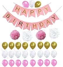 Theme My Party Birthday Decorations Kit for Perfect Decoration (Pink)