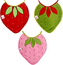 0Month+ Soft Cotton Baby Strawberry Waterproof Bibs Pack of 3