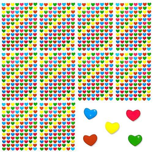 Oblique-Unique® 1040 Stück Herz Herzen Sticker Aufkleber I Bunt I Glänzende Oberfläche I Niedliche Dekoration (Bunte Herzen)