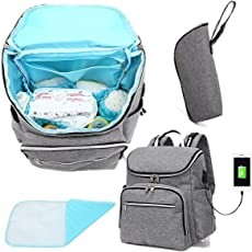 Kraptick Women's Nylon Multi-functional Baby Organizer Travel Backpack with Cushioned Changing Pad, Stroller Straps and Wet Clothes Bag (NMB01, Grey)