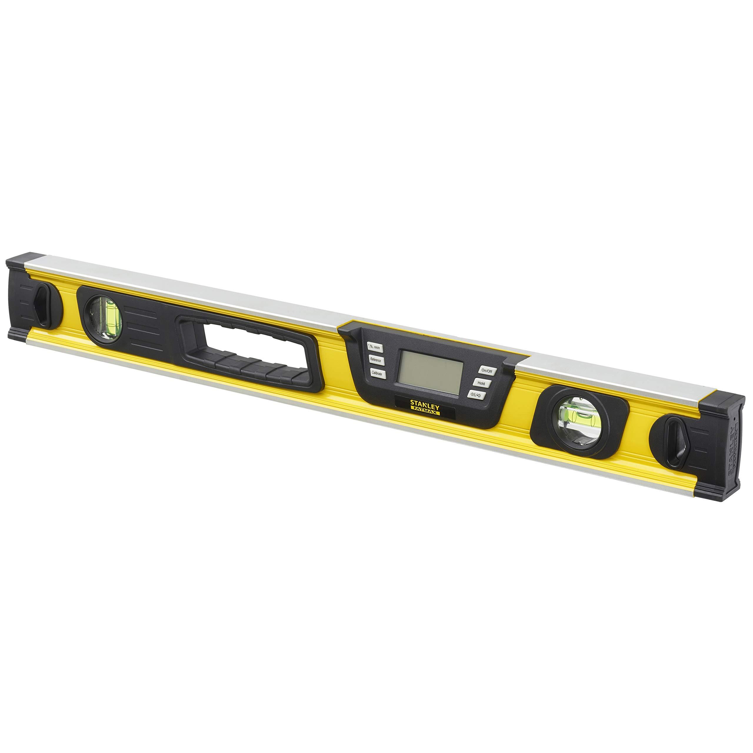 Stanley 0-42-065 Niveau Digital 60 Cm – Gamme FatMax – Écran LCD Rétro-Éclairé – Écran Auto-Réversible Lecture 360° – Précision Numérique 0.10° – Plusieurs Mode – Fourni Avec Sac De Protection