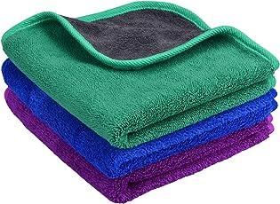 MAYOUTH Mikrofasertücher Auto Putztuch Profiqualität Auto Reinigungstuch Poliertücher Wachs Handtuch 3 Stück (Blau+Lila+Grün \ Grau 3-Pack, 40cmX40cm)