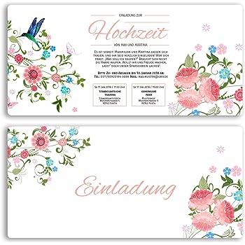 30 X Hochzeitseinladungskarten Blumen Rosa Pink Edel
