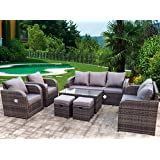 Aspen Reclining Rattan Garden Lounger Set in Brown with