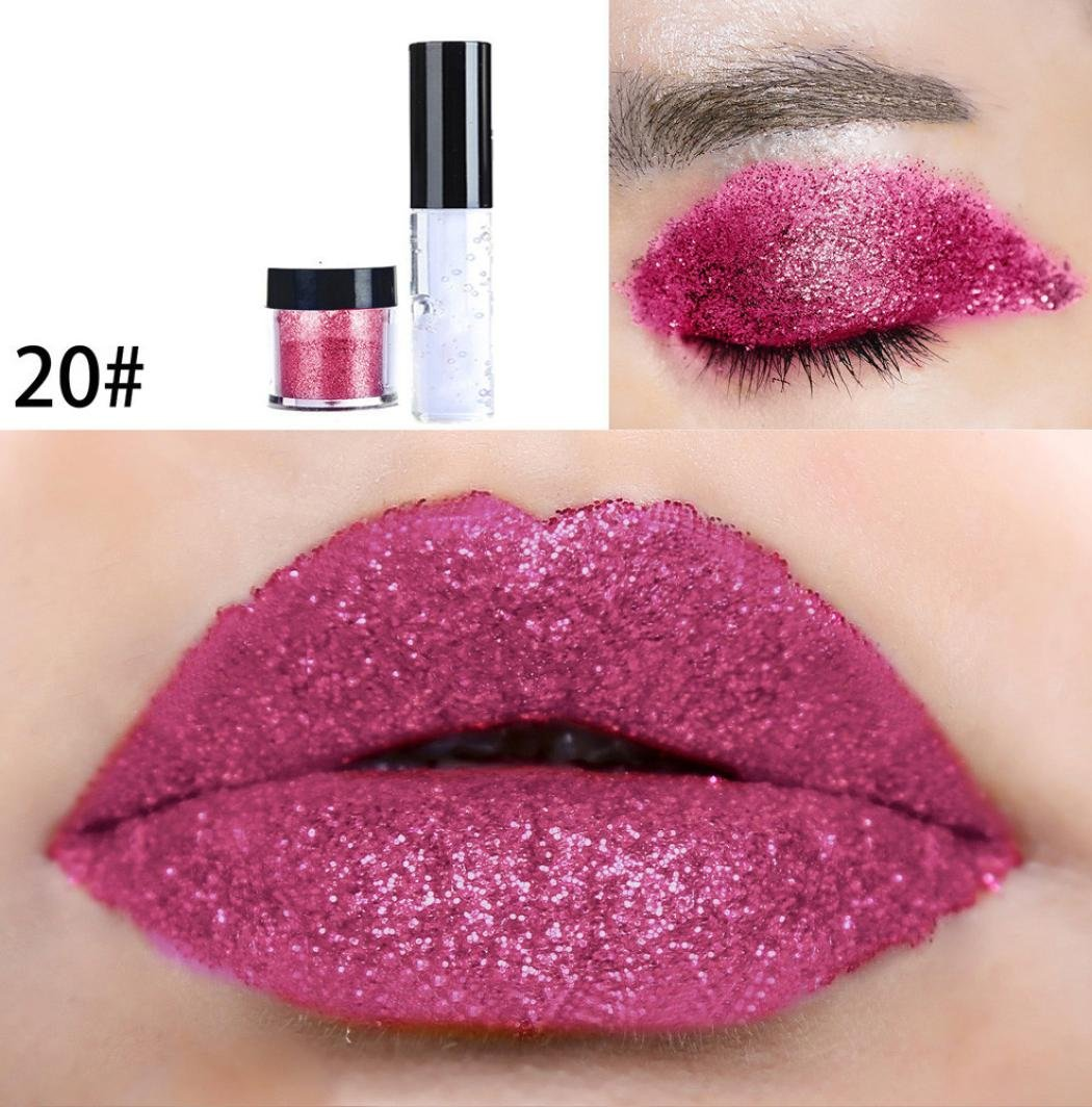 Prevently nuovo arrivo creative Fashion party makeup 20 color Shimmer glitter lip Gloss palette polv