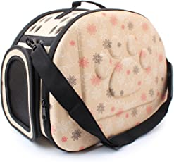 SRI High Quality Fashionable Travel Pet Storage Fold Able Pet Carrier, Beige (Small)
