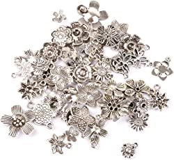 Generic 50Pcs Tibetan Silver Flowers Charms Pendant Beads For Jewellery Making