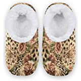 linomo Zapatillas de casa con estampado de leopardo de animales, para mujer, pantuflas de casa para interiores, zapatos de ca