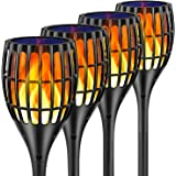 Ollivage Solar Lights Outdoor - Flickering Flames Torch Solar Path Light - Dancing Flame Lighting 96 LED Dusk to Dawn Flicker