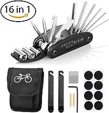 Fahrrad-Multitool, Migimi 16 in 1 Werkzeuge für Fahrrad Reparatur Set Multifunktionswerkzeug Reparatur Fahrradwerkzeug Tool, Werkzeugset Fahrrad mit Tasche, Reifenheber, Selbstklebendes Fahrradflicken usw